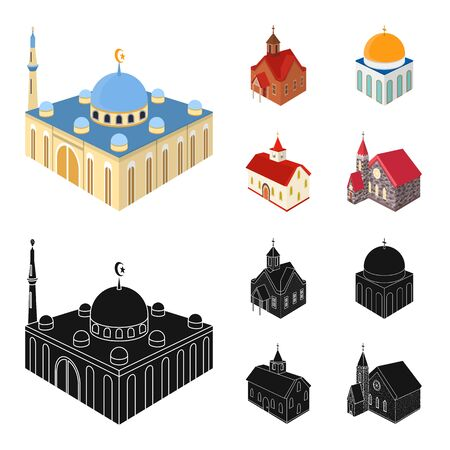 Vector design of temple and historic symbol. Set of temple and faith stock symbol for web.