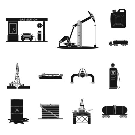 Isolated object of oil and gas logo. Collection of oil and petrol stock vector illustration. 일러스트