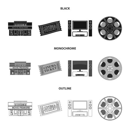 Vector design of television and filming icon. Collection of television and viewing vector icon for stock.