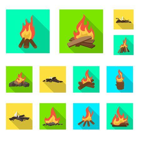 Vector design of danger and tourism symbol. Set of danger and hiking stock vector illustration.