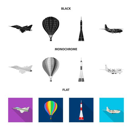 Isolated object of plane and transport logo. Collection of plane and sky vector icon for stock.