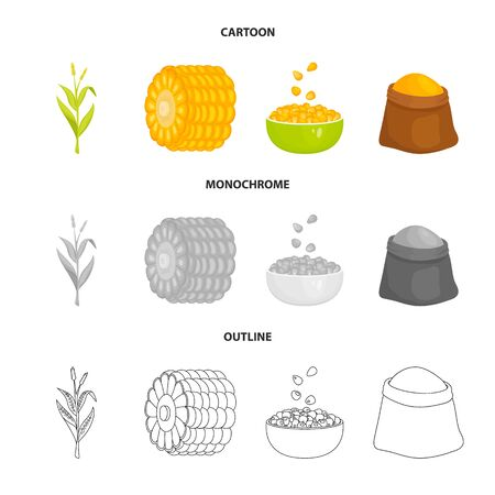 Isolated object of cornfield and vegetable icon. Collection of cornfield and vegetarian vector icon for stock. Ilustrace