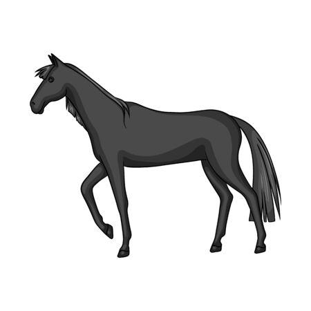 Vector design of horse and black sign. Set of horse and horseback stock symbol for web. Illustration