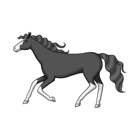 Vector design of steed and brown logo. Set of steed and gallop stock vector illustration. Çizim