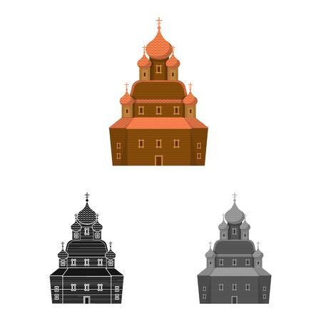 Vector design of church and orthodox sign. Set of church and construction stock vector illustration.