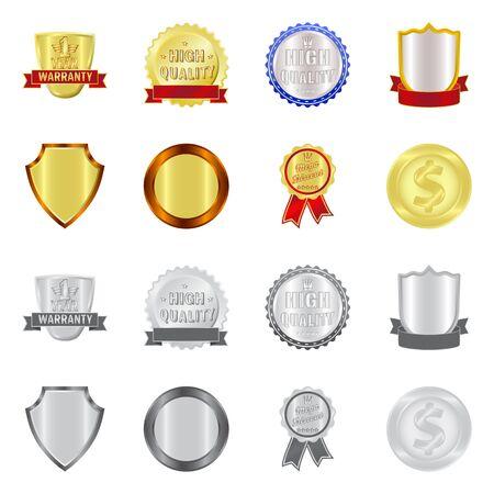 bitmap illustration of emblem and badge icon. Collection of emblem and sticker bitmap icon for stock. Stockfoto