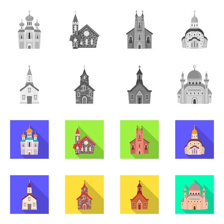 bitmap design of cult and temple sign. Collection of cult and parish stock symbol for web. 스톡 콘텐츠