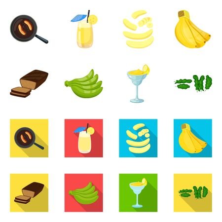 Isolated object of natural and vegetarian sign. Collection of natural and eating bitmap icon for stock.