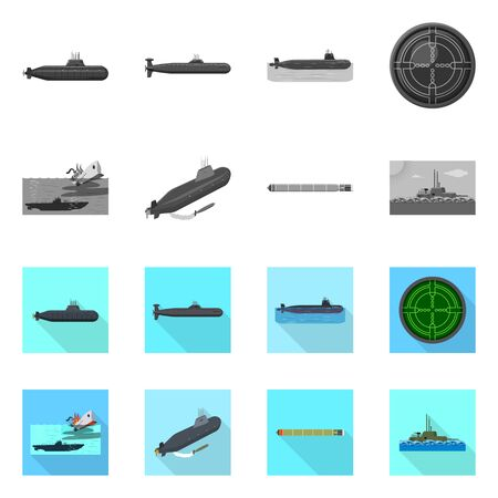 Isolated object of war and ship symbol. Collection of war and fleet stock symbol for web.