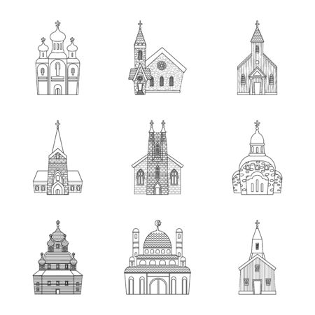 bitmap design of architecture and faith logo. Collection of architecture and temple stock symbol for web.