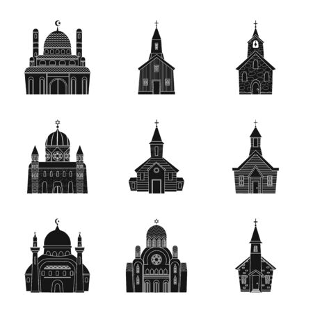 bitmap design of house and parish icon. Set of house and building bitmap icon for stock. Stock Photo