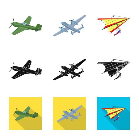 Isolated object of plane and transport icon. Set of plane and sky stock bitmap illustration.