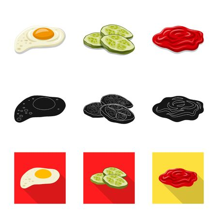 Isolated object of burger and sandwich . Collection of burger and slice stock bitmap illustration.