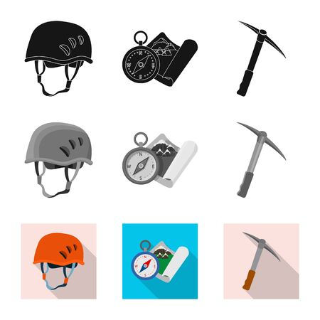 Isolated object of mountaineering and peak sign. Collection of mountaineering and camp stock bitmap illustration.