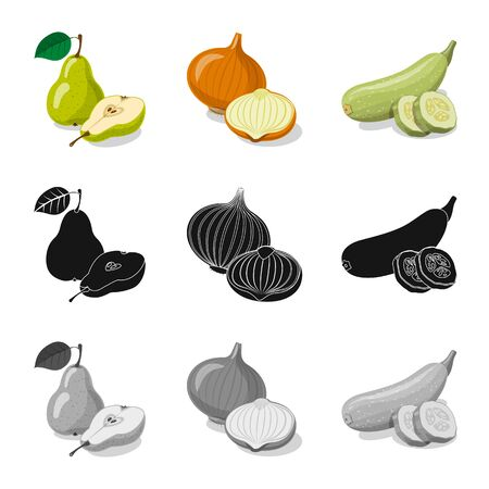 Isolated object of vegetable and fruit icon. Collection of vegetable and vegetarian stock bitmap illustration.