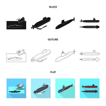 Isolated object of war and ship  . Set of war and fleet stock bitmap illustration.