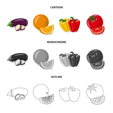 bitmap design of vegetable and fruit icon. Set of vegetable and vegetarian stock bitmap illustration. 스톡 콘텐츠