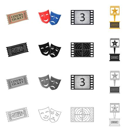 bitmap design of television and filming sign. Collection of television and viewing bitmap icon for stock.