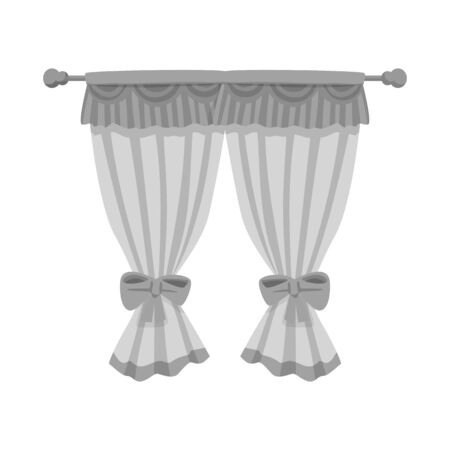bitmap illustration of curtain and window  . Collection of curtain and jalousie stock symbol for web.