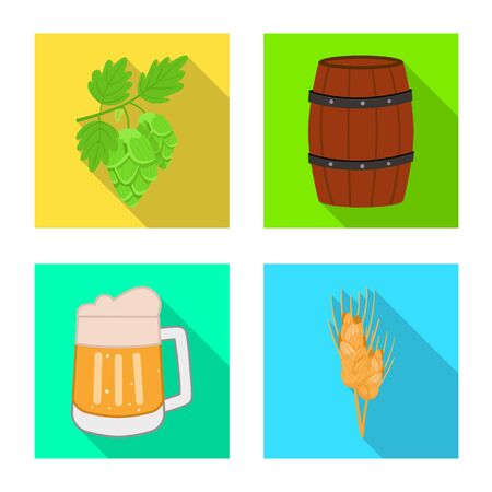 Vector design of brewery and brewing symbol. Collection of brewery and ingredient stock symbol for web. Stock Illustratie