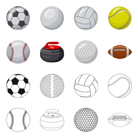 Vector illustration of sport and ball logo. Collection of sport and athletic vector icon for stock.
