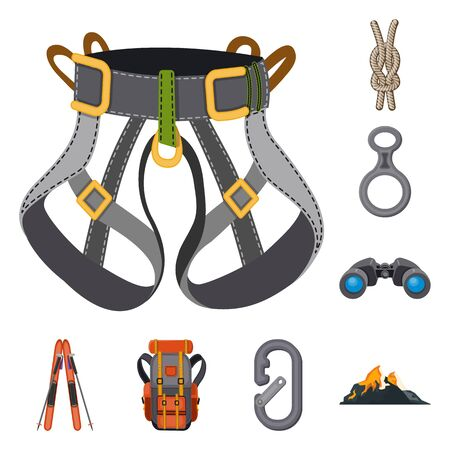 Vector illustration of mountaineering and peak icon. Set of mountaineering and camp stock vector illustration.