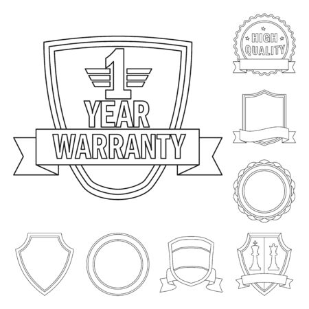 Vector design of emblem and badge symbol. Set of emblem and sticker vector icon for stock.