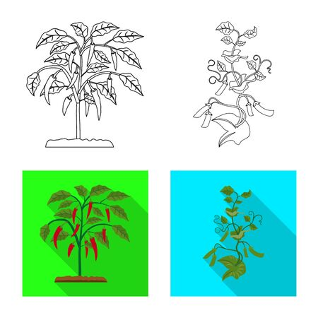 Vector illustration of greenhouse and plant logo. Collection of greenhouse and garden stock vector illustration.