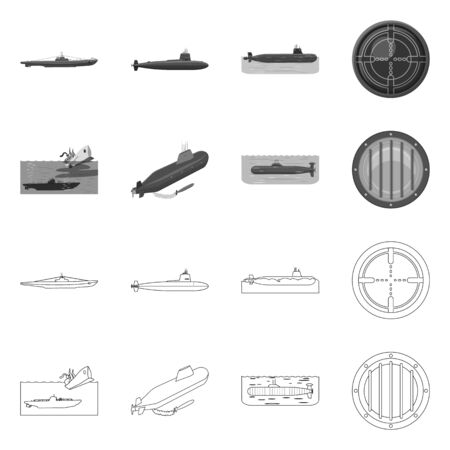 Vector illustration of war and ship icon. Collection of war and fleet vector icon for stock.