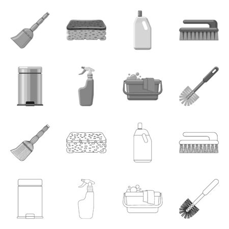 Vector illustration of cleaning and service sign. Collection of cleaning and household stock symbol for web.