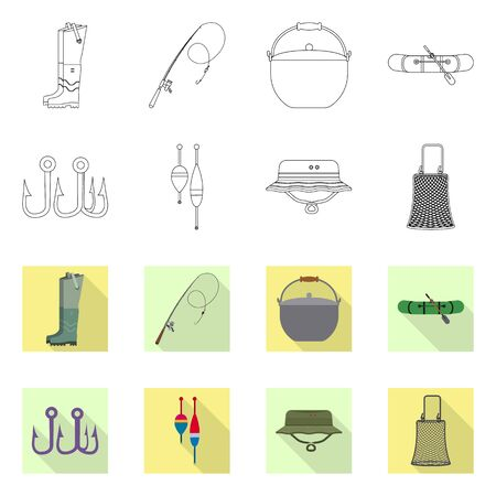 Isolated object of fish and fishing icon. Collection of fish and equipment vector icon for stock.