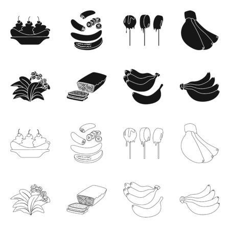 Isolated object of natural and vegetarian logo. Collection of natural and eating vector icon for stock.