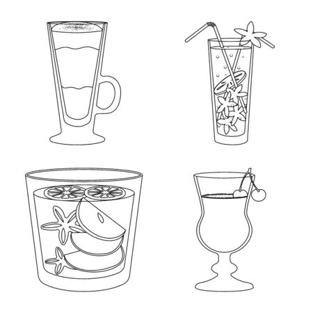 Vector illustration of beverage and ice sign. Set of beverage and shaker stock vector illustration.  イラスト・ベクター素材