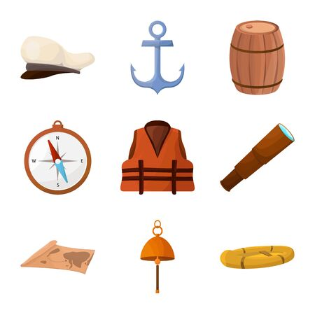 Vector design of adventure and sea icon. Set of adventure and travel stock vector illustration.