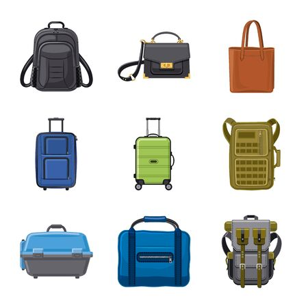 Vector illustration of suitcase and baggage logo. Set of suitcase and journey vector icon for stock.