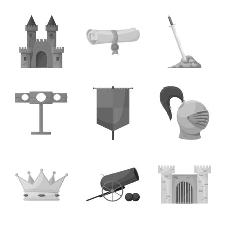 Vector illustration of heritage and ancient sign. Set of heritage and culture vector icon for stock.
