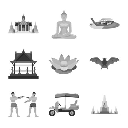Isolated object of traditional and tourism symbol. Collection of traditional and exotic stock vector illustration.