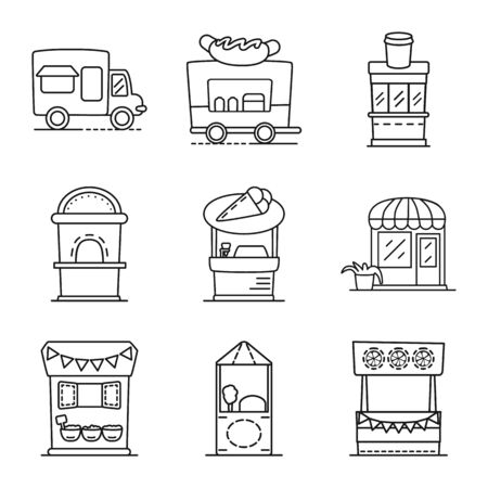 Vector design of vending and public logo. Collection of vending and storefront stock symbol for web. Illustration