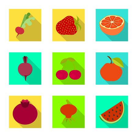 Isolated object of fresh and red logo. Set of fresh and organic vector icon for stock. Archivio Fotografico - 128350105