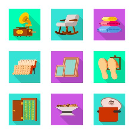 Isolated object of comfort and equipment icon. Set of comfort and furniture vector icon for stock.