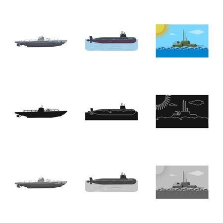 Vector design of war and ship sign. Collection of war and fleet vector icon for stock.