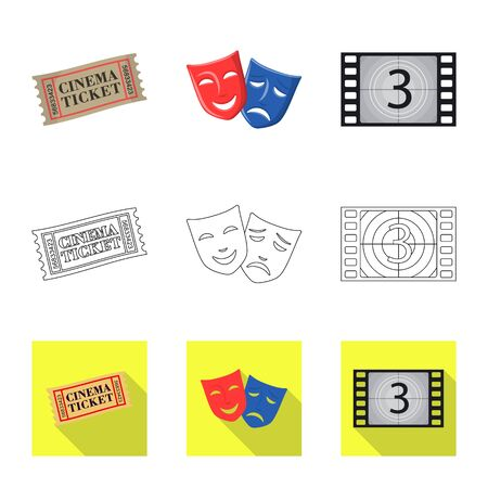 Isolated object of television and filming icon. Set of television and viewing stock vector illustration.  イラスト・ベクター素材