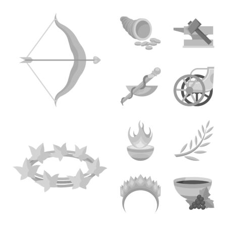 Vector illustration of ancient and culture symbol. Collection of ancient and antique stock symbol for web. Stock Vector - 128320626