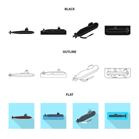 Isolated object of war and ship sign. Set of war and fleet vector icon for stock.