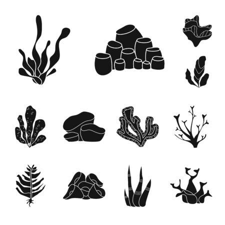 Disegno vettoriale di decorazione e segno della fauna selvatica. Set di icone vettoriali di decorazione e acquario per stock.