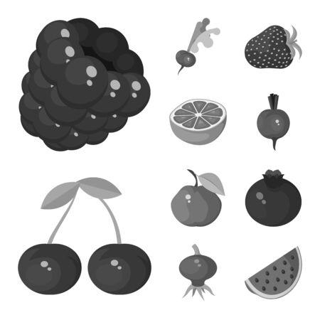 Disegno vettoriale di simbolo naturale e raccolto. Raccolta di illustrazione vettoriale d'archivio naturale e rosso.