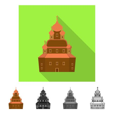 Vector design of church and orthodox symbol. Set of church and construction stock symbol for web.