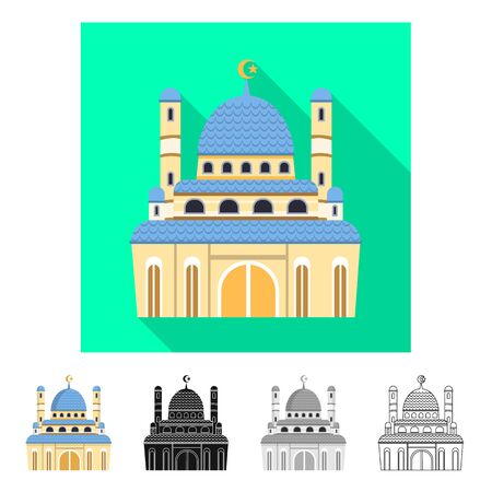 Isolated object of mosque and church sign. Set of mosque and muslim stock symbol for web. Archivio Fotografico - 128597851
