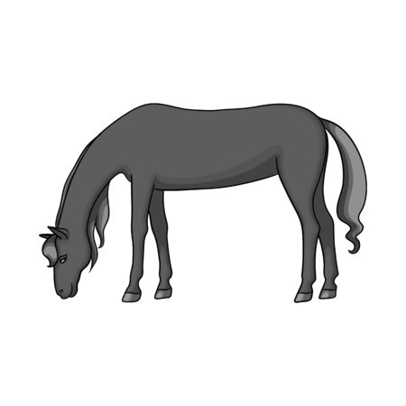 Vector illustration of horse and brown icon. Set of horse and stand stock symbol for web. Ilustração