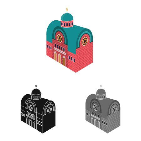 Vector design of synagogue and church logo. Collection of synagogue and judaism stock vector illustration.